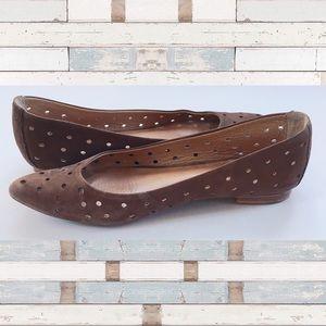 Corso Como Suede cutout leather flats tan brown 7